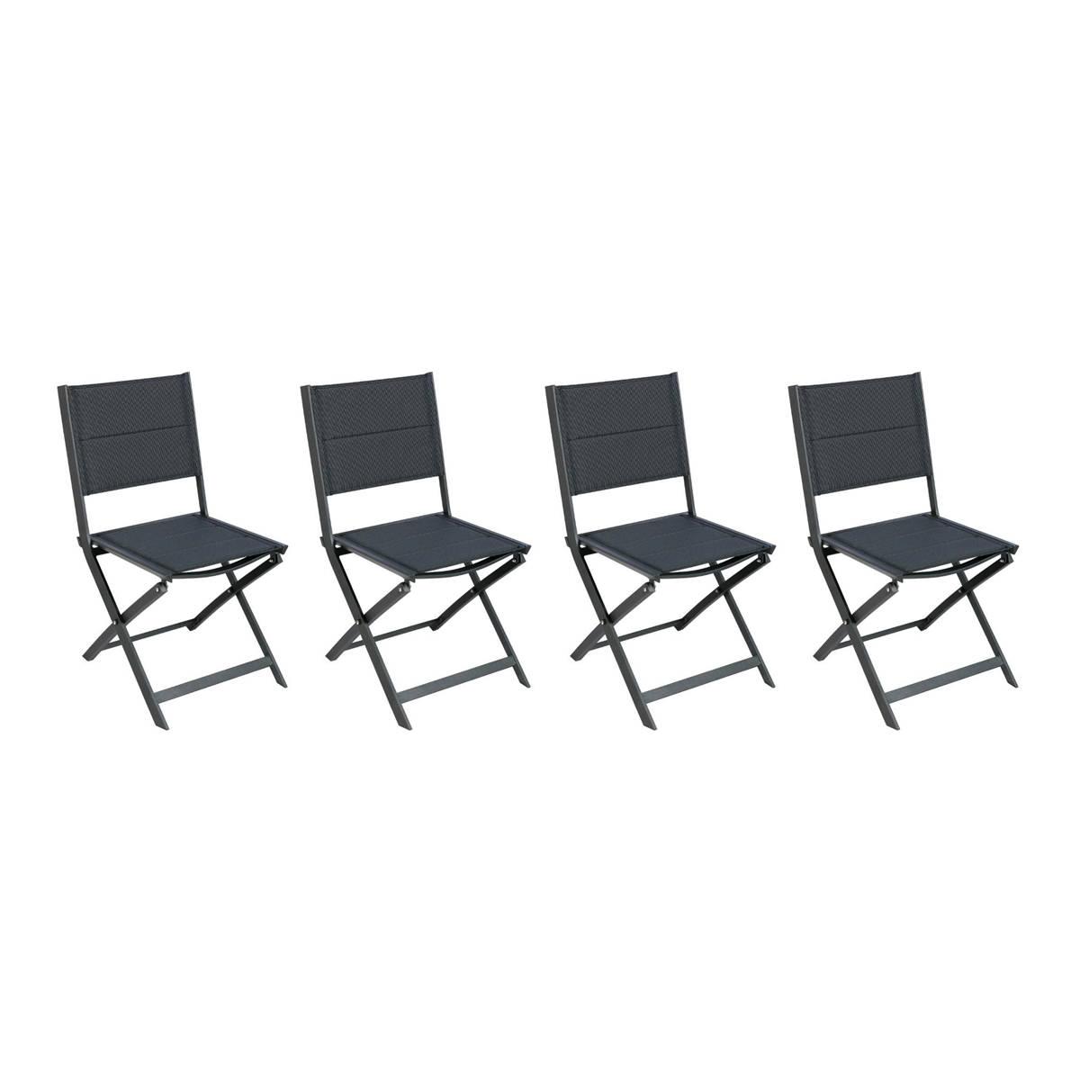 Hespéride Lot de 4 chaises de jardin pliantes Allure Poivre   Graphite
