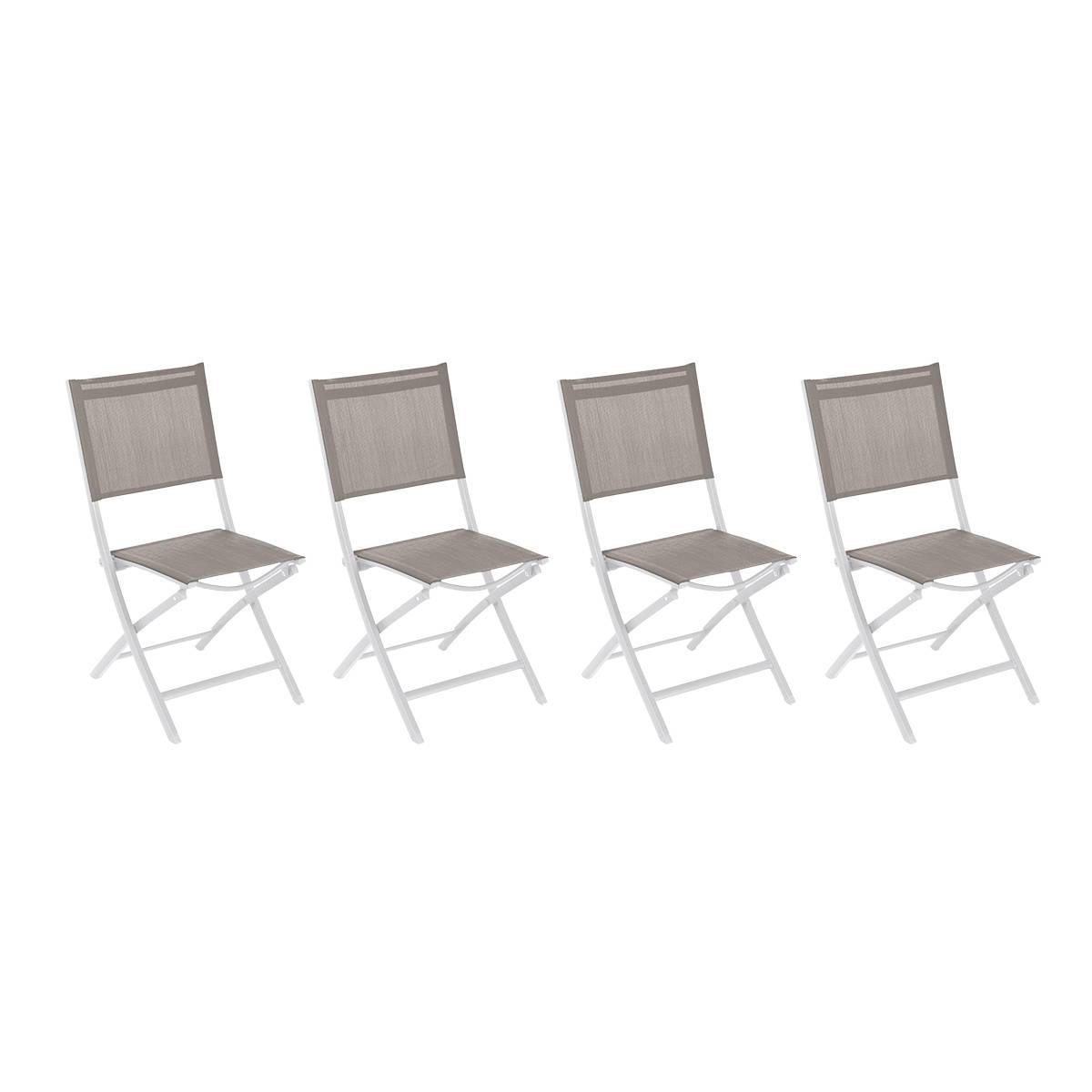 Hespéride Lot de 4 chaises de jardin pliantes Essentia Noisette   Blanc
