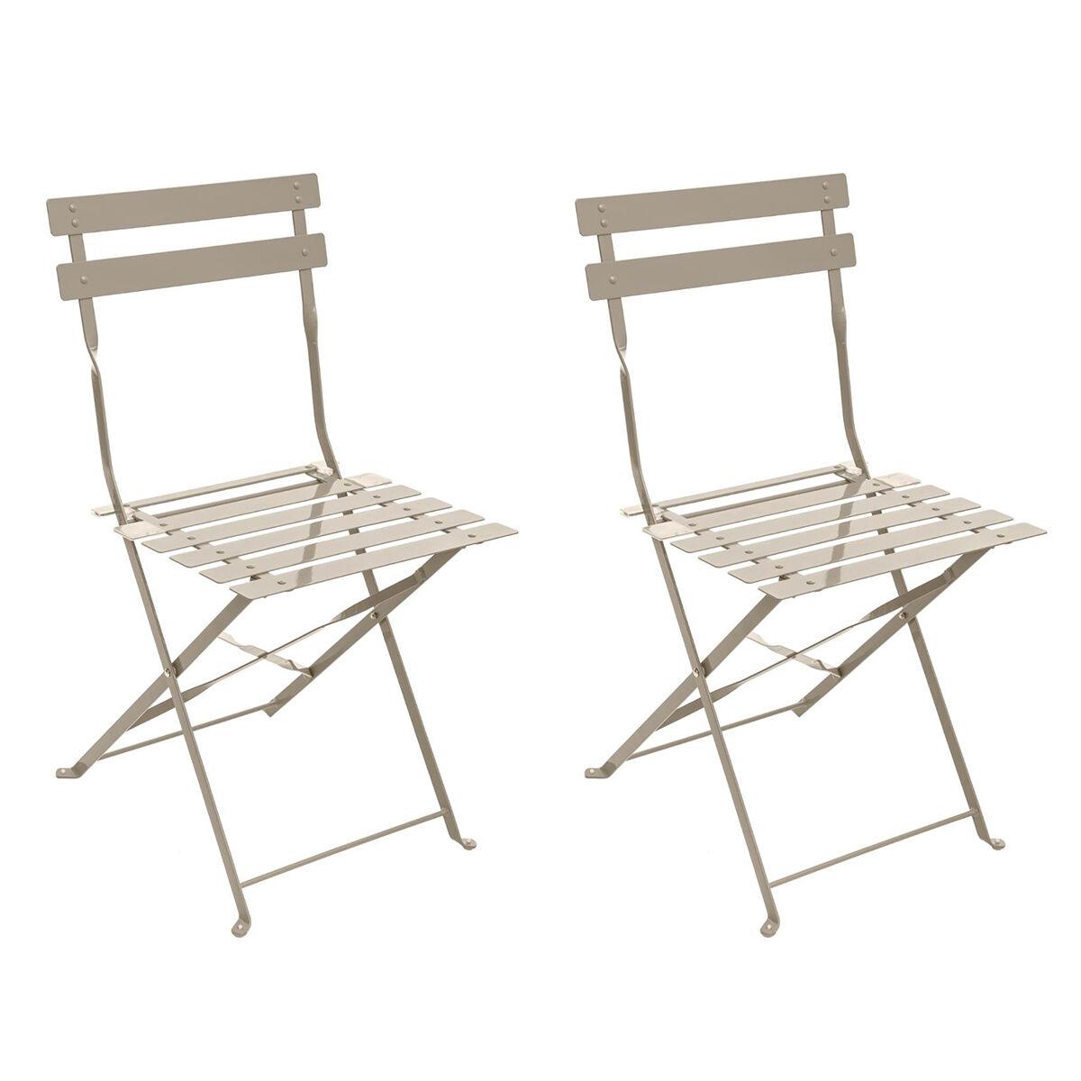 Hespéride Lot de 2 chaises de jardin pliantes Camargue Taupe mat