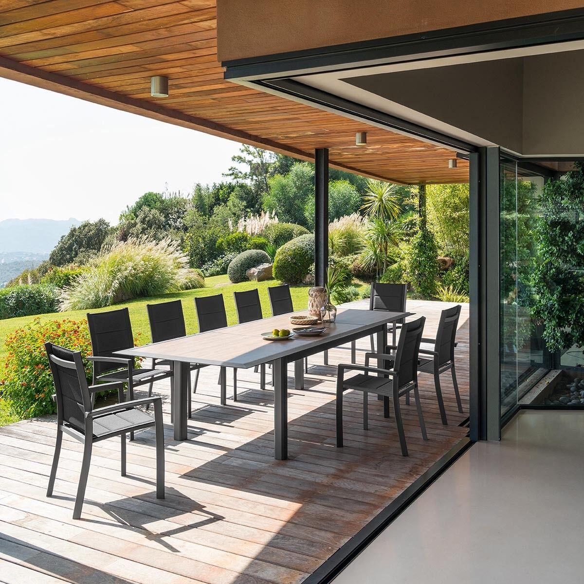 Hespéride Table de jardin extensible Allure Effet bois miel   Praline
