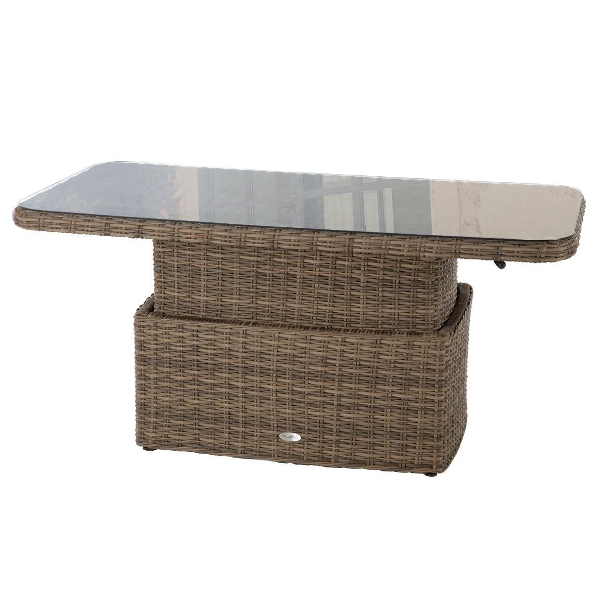 Hespéride Table basse rectangulaire relevable Mooréa Naturae Jardin Aluminium traité époxy, Résine tressée, Verre trempé