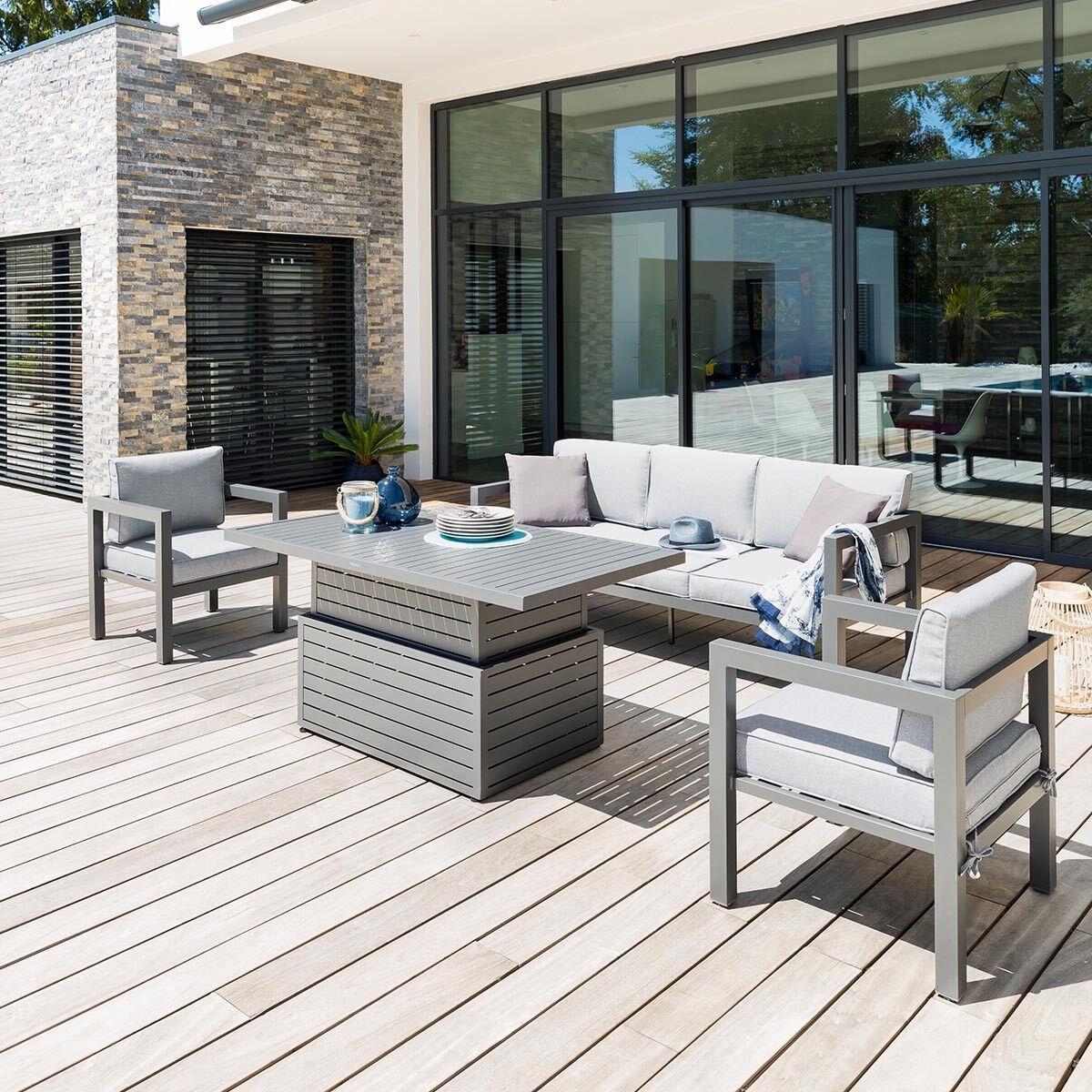 Hespéride Table basse rectangulaire relevable Alteza Graphite Jardin 147 x 79 x 45/69 cm - Aluminium traité époxy