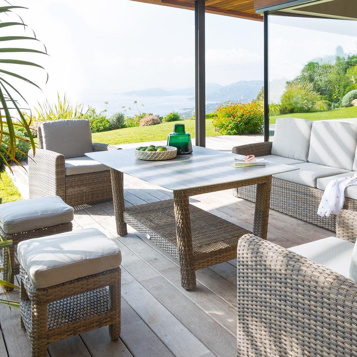 Hespéride Table de jardin rectangulaire Polynésia Naturae 8 places - Aluminium traité époxy, Verre tempé