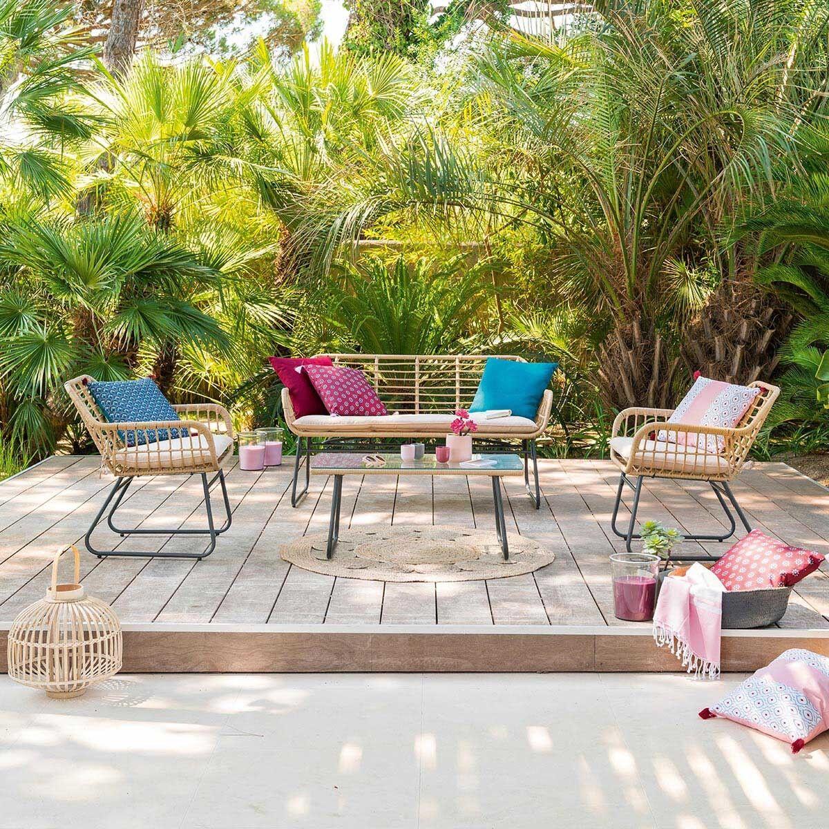 Hespéride Salon de jardin Lambada Sésame avec table basse rectangulaire 4 places - Acier traité époxy, Résine tressée, Verre trempé et polyester