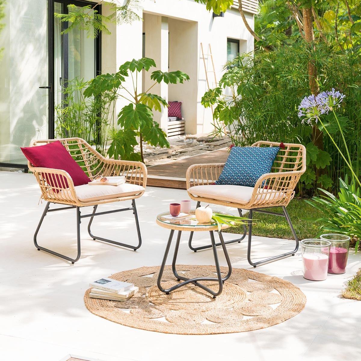 Hespéride Salon de jardin Lambada Sésame avec table basse ronde 2 places - Aluminium traité époxy, Résine tressée, Verre trempé et polyester