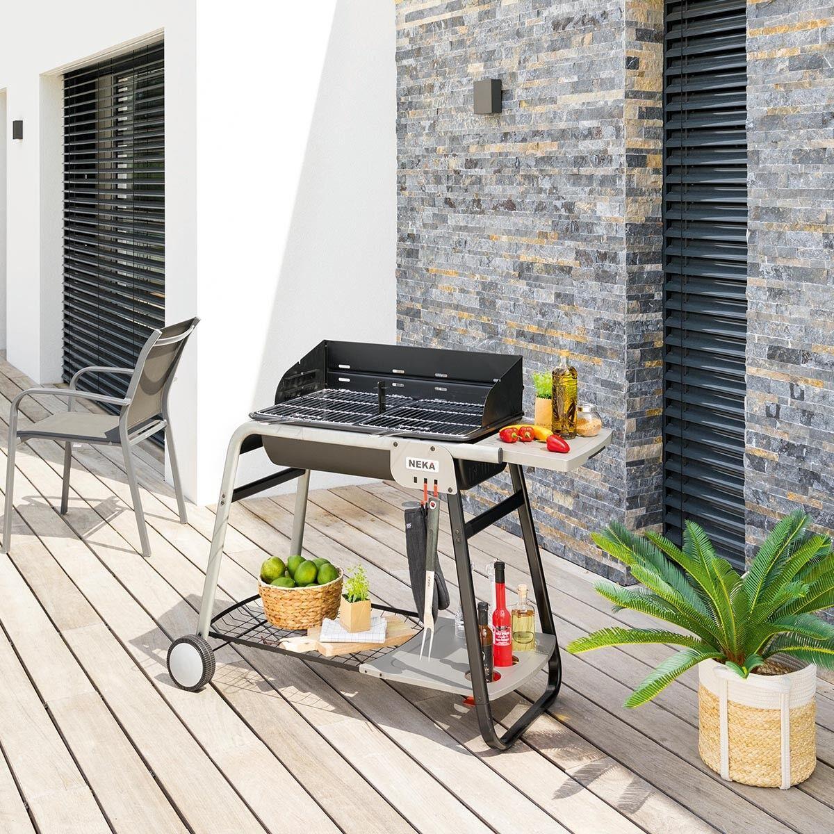 NEKA Barbecue à charbon Azur pro Jardin L. 120 cm - Acier
