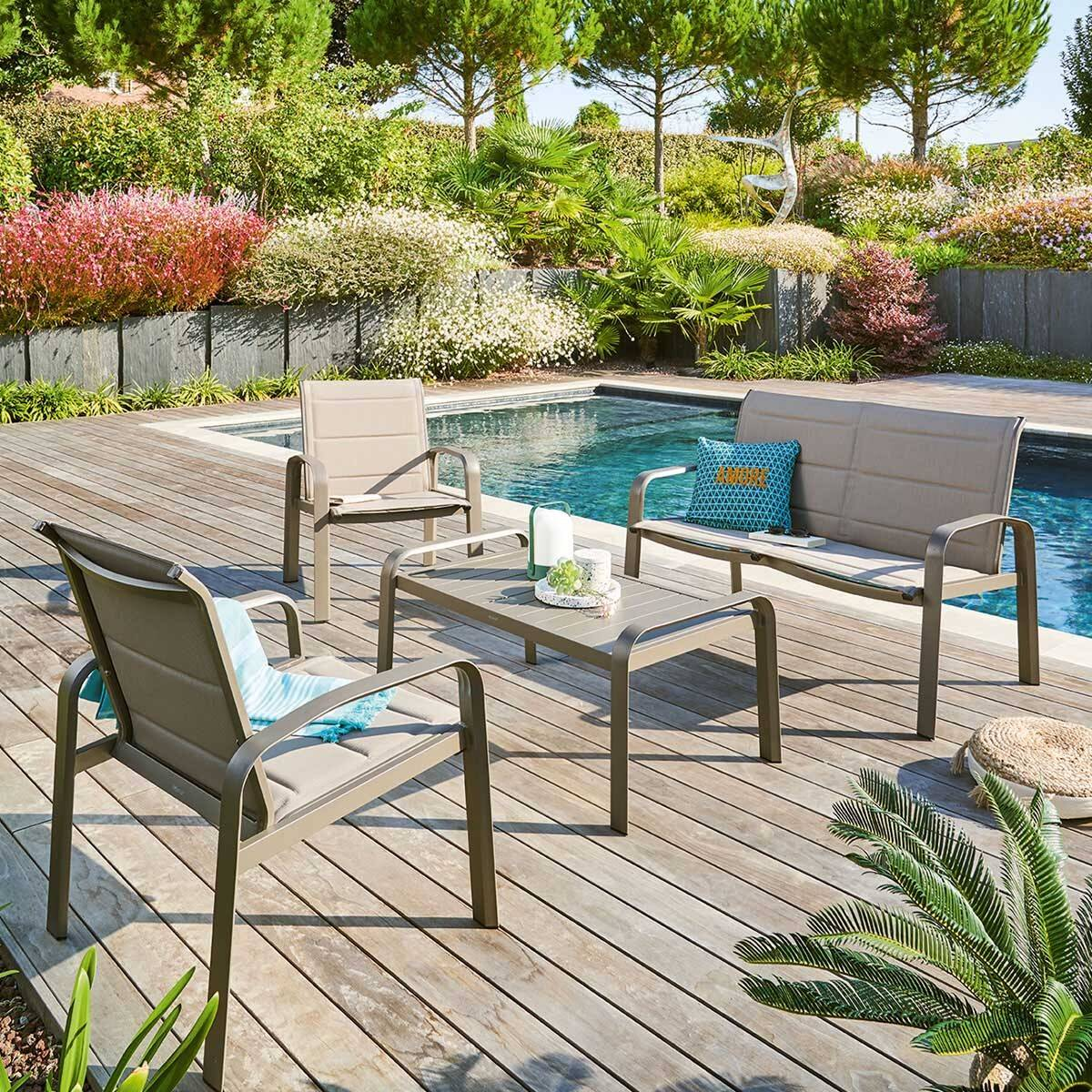 Hespéride Salon de jardin Elyn Noisette   Praline 4 places - Aluminium, Texaline