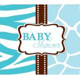 8 Cartes d'invitation Baby Shower Girafe Bleue Taille Unique