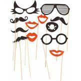 Kit photobooth 12 pièces lunettes et moustaches Taille Unique