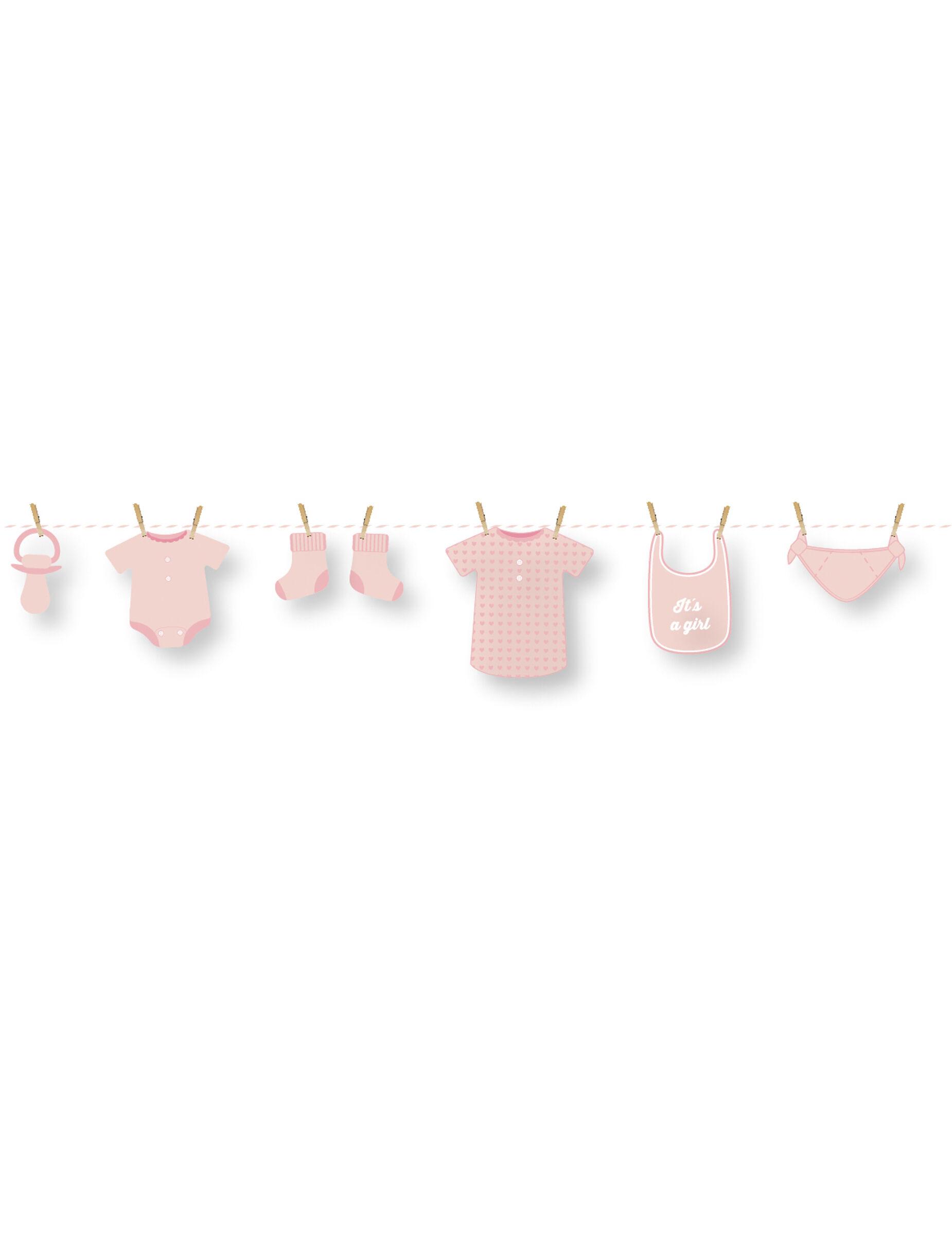 VegaooParty Guirlande en carton DIY bébé rose 1,5 m