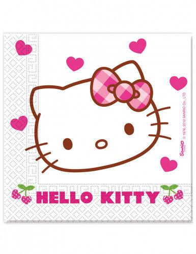 20 Serviettes en papier Hello Kitty Taille Unique