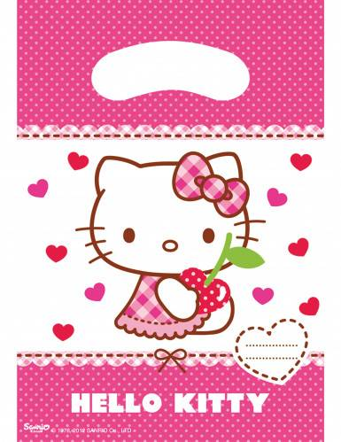 6 Sacs cadeaux Hello Kitty 16.5 x 23 cm Taille Unique