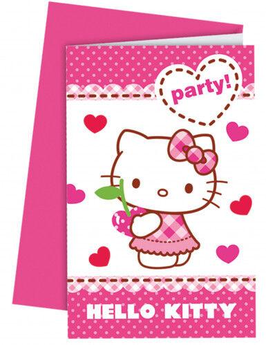 6 Cartes d'invitation avec enveloppes Hello Kitty Taille Unique