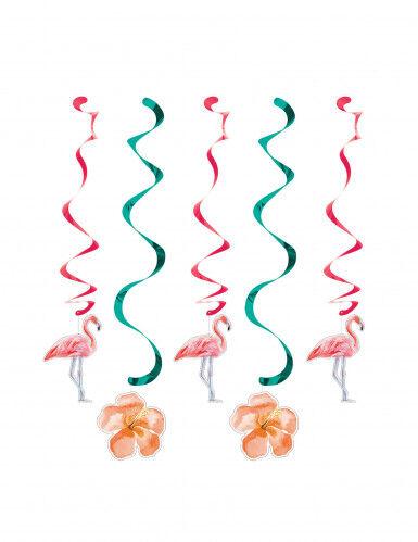 5 Décorations à suspendre spirales Flamants roses Taille Unique