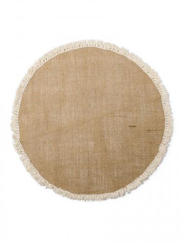 Centre de table rond toile de jute à franges 52 cm Taille Unique