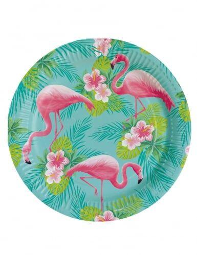 8 Assiettes en carton Flamingo Paradise 23 cm Taille unique