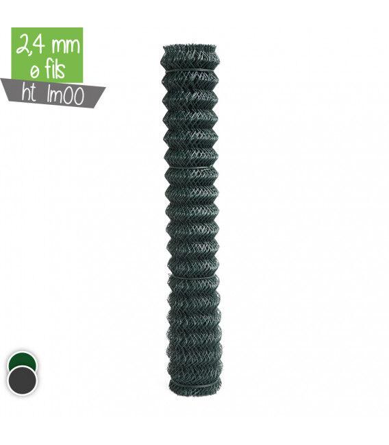 Grillage maille losange Ht 1m00 2.4mm - Couleur - Gris 7016