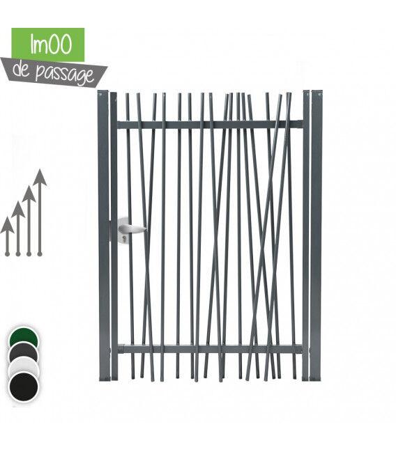 Portillon NATURE 1vantail - Couleur - Noir 9005, Hauteur - Ht 1m00, Pose - sur platine soudée