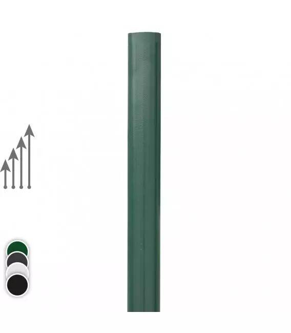 Poteau rond pour Barreaudage - Couleur - Vert 6005, Hauteur du poteau : - 2m20