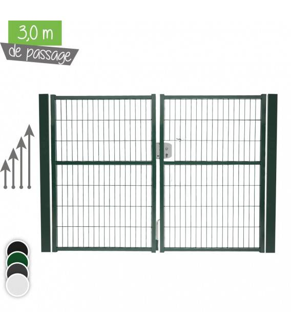 Portail Jardi 2 vantaux 3m00 - Couleur - Blanc 9010, Hauteur - Ht 1m00, Pose - sur platine soudée