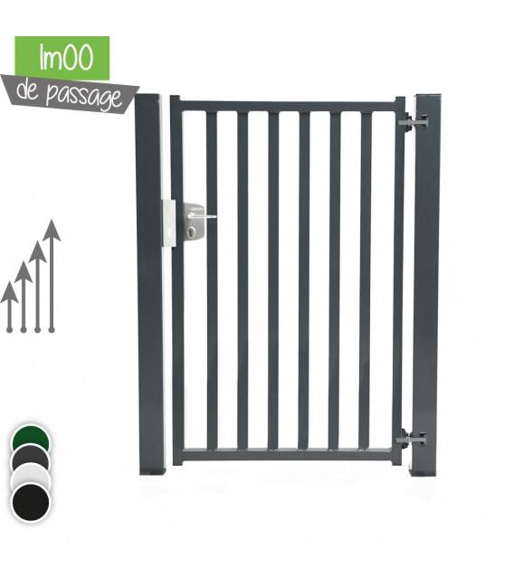 Portillon BarrO+ 35/35 Passage 1m00 - Couleur - Vert 6005, Hauteur - Ht 1m50, Pose - sur platine soudée