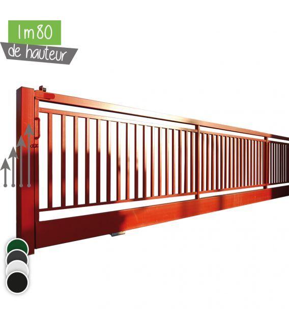 Portail BarrO+ Coulissant Ht 1m80 - Couleur - Vert 6005, Hauteur - Ht 1m80, Passage - 14m00, Pose - sur platine soudée, Type de fermeture - Manuel avec serrure LOCINOX LSKZ U2
