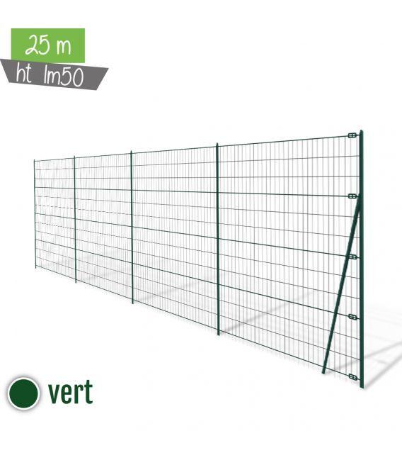Kit 25ML Grillage Soudé Ht 1m50 - Vert (Ø 2,2mm)