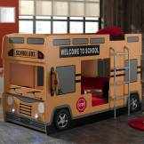 Tousmesmeubles Lit superposé bus - SCHOOL - L 215 x l 100 x H 132
