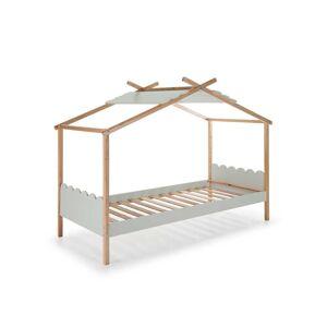 Tousmesmeubles Lit cabane 90*190 cm Gris/Bois - ROBIN - L 217 x l 110 x H 171 - Publicité