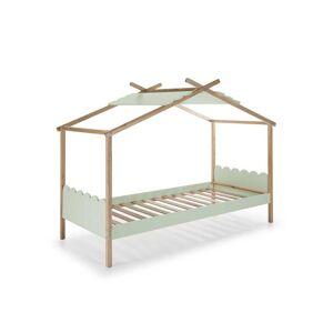 Tousmesmeubles Lit cabane 90*190 cm Vert/Bois - ROBIN - L 217 x l 110 x H 171 - Publicité