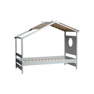 Tousmesmeubles Lit cabane Gris Clair/Bois - HUBLOT - L 209 x l 110 x 173 - Publicité