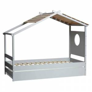 Tousmesmeubles Lit cabane avec tiroir Gris Clair/Bois - HUBLOT - L 209 x l 110 x 173 - Publicité