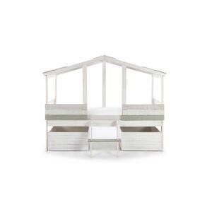 Tousmesmeubles Lit cabane avec coffres de rangements Bois - TUCK - L 206 x l 165 x H 131 - Publicité
