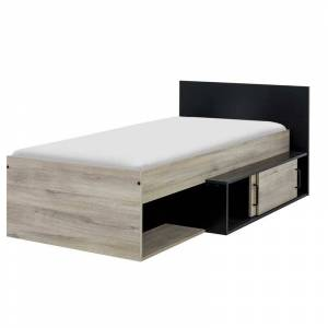 Tousmesmeubles Cadre + Tête de lit 90*200 cm Chêne/Noir - VECCHIO - L 110 x l 204 x H 80 - Publicité