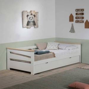 Tousmesmeubles Lit gigogne 90*190 cm Bois Blanc - BILIA - L 199 x l 105 x H 62 - Publicité