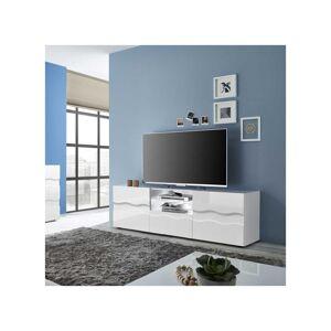 Tousmesmeubles Meuble TV 2 portes 1 tiroir relief blanc laqué brillant - OCEAN - L 181 x l 43 x H 57 - Publicité