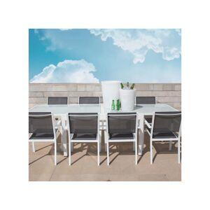 Tousmesmeubles Table de jardin de repas carrée extensible Acier/Verre blanc - VADO
