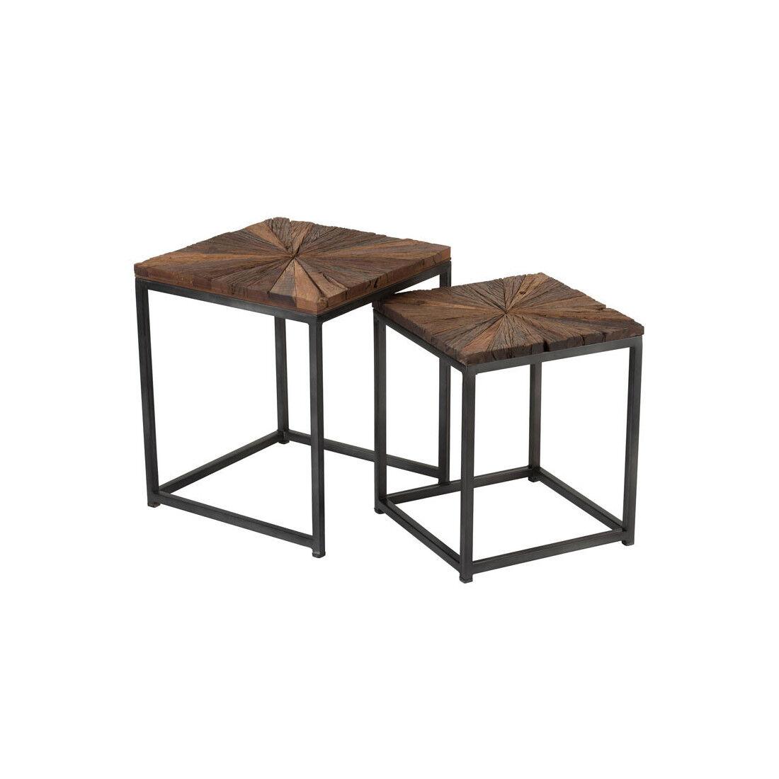 Tousmesmeubles Tables gigognes carrées Bois/Métal - ROTTERDAM - L 43 x l 43 x H 53