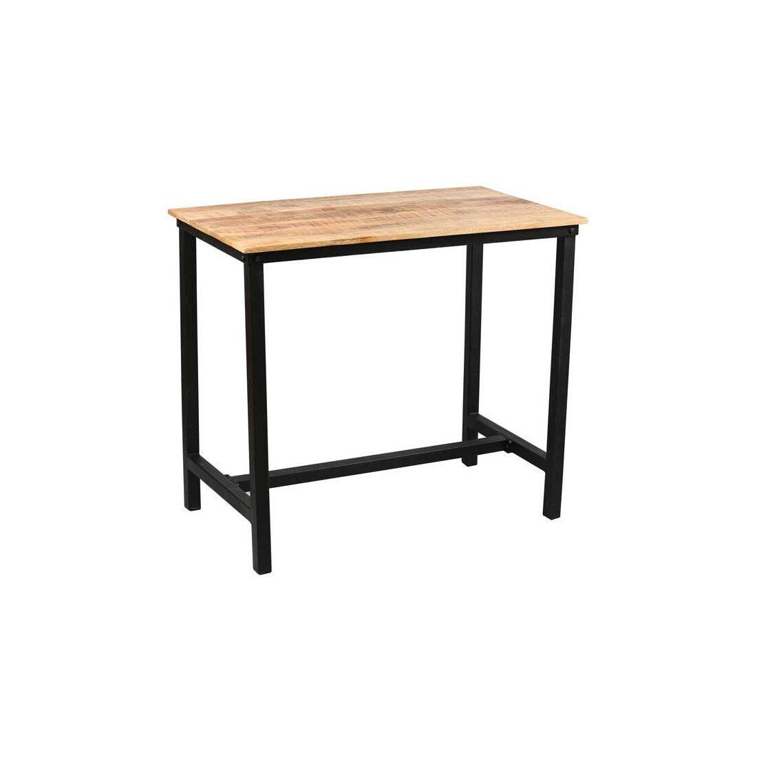 Tousmesmeubles Table mange-debout Acier noir/Bois massif - CHALERSTON - L 120 x l 70 x H 105