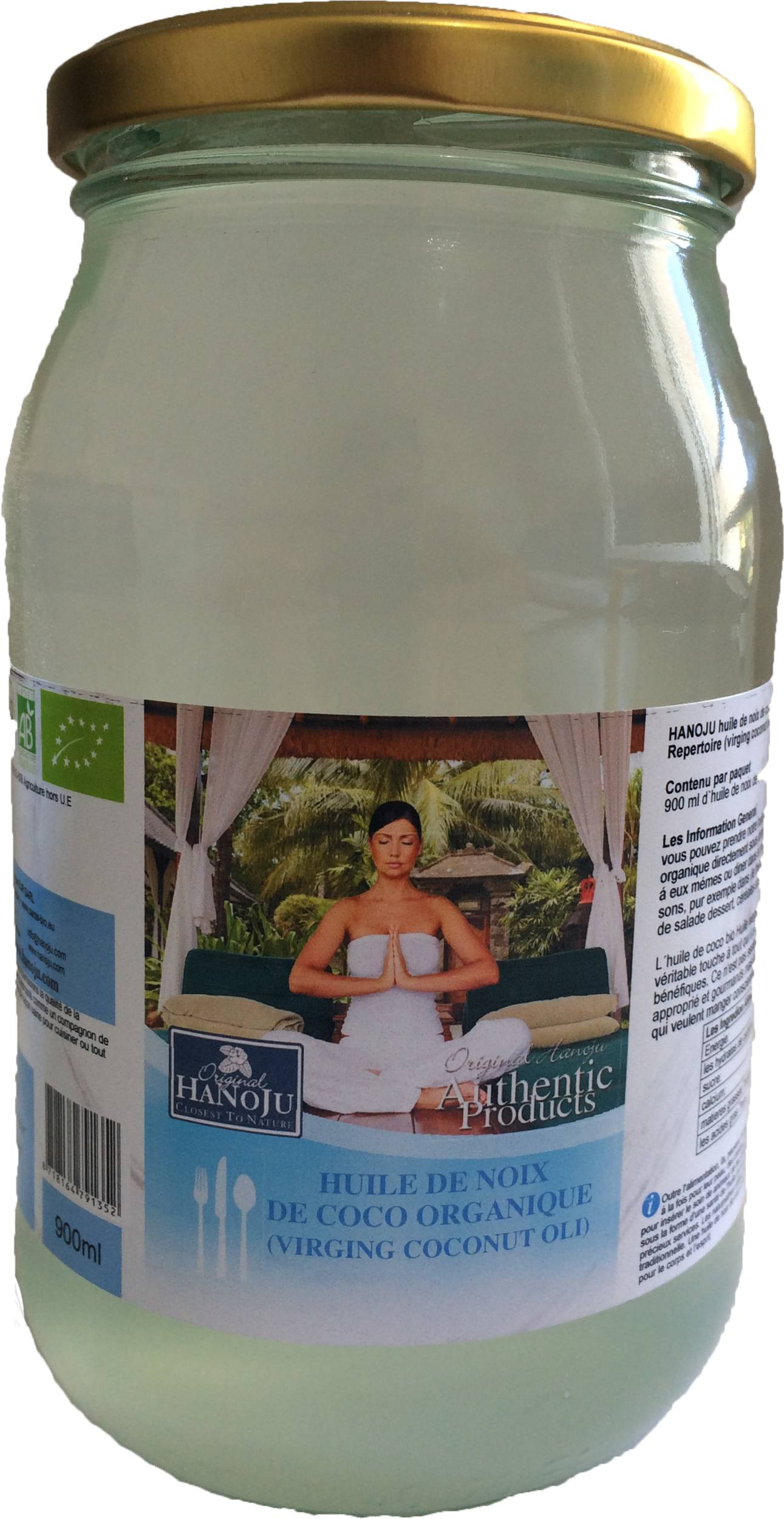 Hanoju Huile de Noix de Coco Vierge Biologique - 500 ml