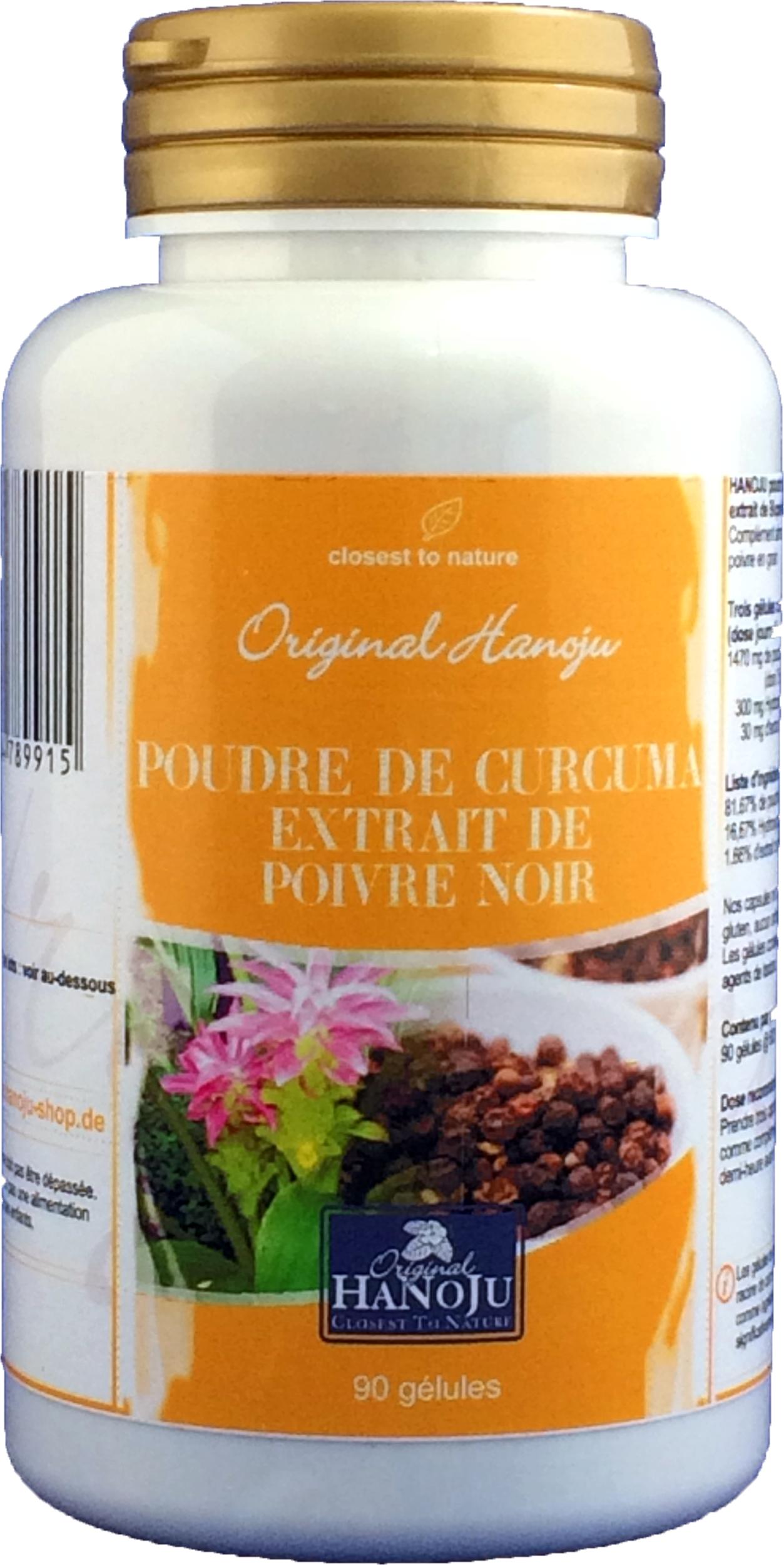 Hanoju Curcuma Longa - Poivre Noir - 90 gélules - 600 mg