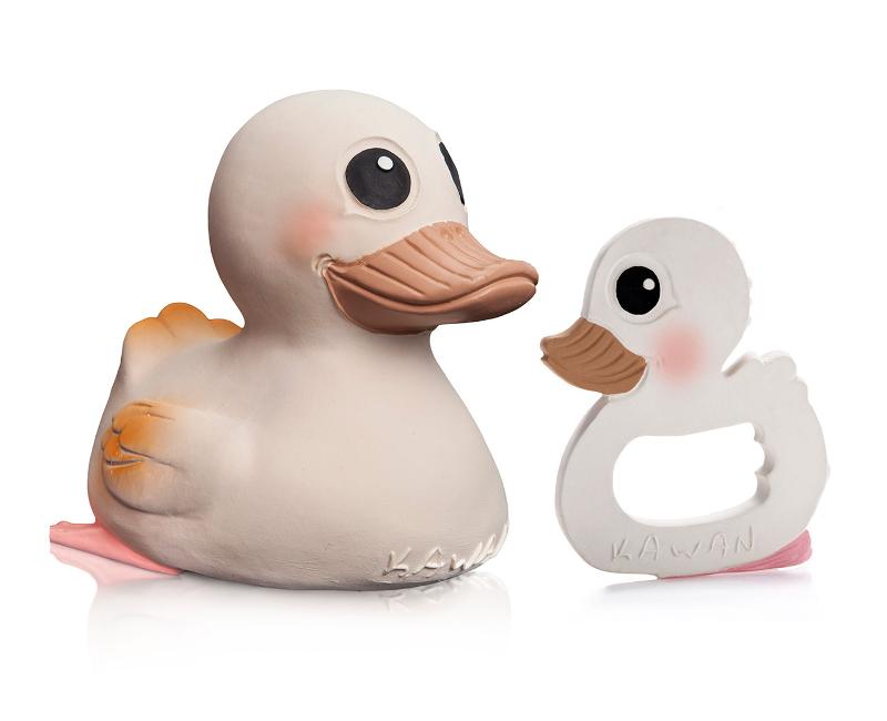 HEVEA Jouet de Bain Kawan le canard et anneau de dentition
