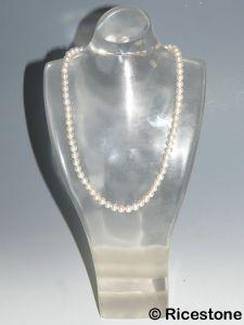 Ricestone 10b) Buste Acrylique transparent, Présentoir de collier H=26cm
