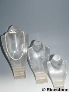 Ricestone 11) Buste Acrylique transparente lot de 3 Présentoir collier.