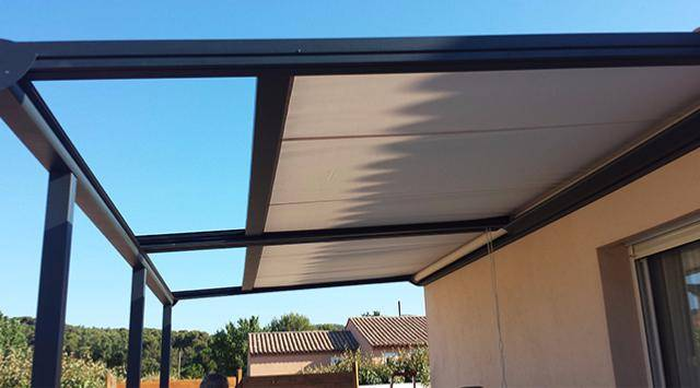NAO Pergola alu et toile coulissante NEW 3.5 m x A 1.25 m