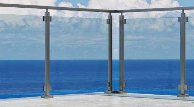 NAO 1m Balustrade Aluminium NAO Verre sur mesure avec pinces