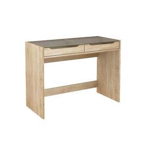 BUT Bureau 2 tiroirs CREA Imitation chêne et verre - Publicité