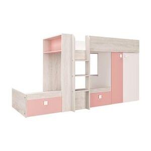 BUT Lit superposé 2x90x190 cm MELYMELO imitation chêne, blanc et rose - Publicité