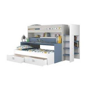 BUT Lit superposé Multifonctions JULES imitation chêne et bleu 2 lits + bureau + 2 tiroirs - Publicité