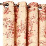 Rideaux Toile de Jouy rouge